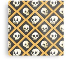 Tiling Skulls 1/4 - Yellow  Metal Print