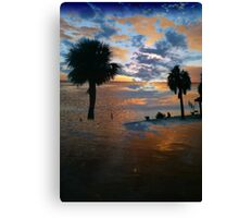 Palm trees, sunset, collage Canvas Print