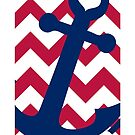 Nautical Red White and Blue Chevron Anchor by iEric