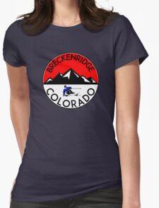 BRECKENRIDGE COLORADO Ski Skiing Mountain Mountains Skiing Skis Silhouette Womens Fitted T-Shirt