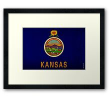 Kansas State Flag VINTAGE Framed Print