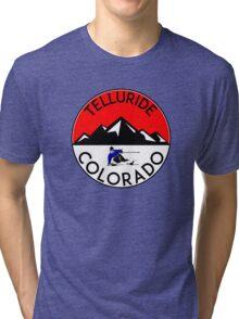 TELLURIDE COLORADO Ski Skiing Mountain Mountains Skiing Skis Silhouette Snowboard Snowboarding Tri-blend T-Shirt