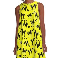 Scared cats on yellow background A-Line Dress