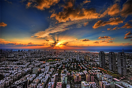 Tel Aviv, sunset time by Ronsho