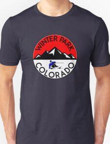 WINTER PARK COLORADO Ski Skiing Mountain Mountains Skiing Skis Silhouette Snowboard Snowboarding Unisex T-Shirt