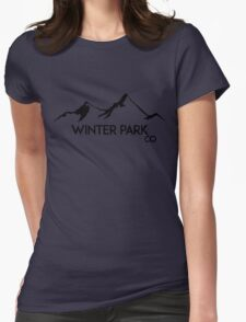 WINTER PARK COLORADO Ski Skiing Mountain Mountains Skiing Skis Silhouette Snowboard Snowboarding Womens Fitted T-Shirt