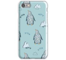Seamless pattern with little cute penguins on pink background iPhone Case/Skin