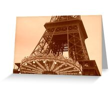 Eiffel Tower Carousel in sepia Greeting Card