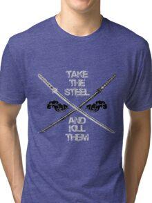 Dual Katana B&W Tri-blend T-Shirt
