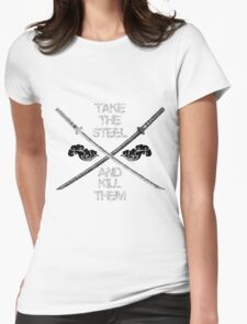 Dual Katana B&W Womens Fitted T-Shirt