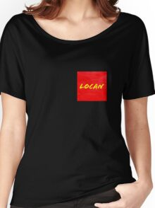LOCAN yellow on red Women's Relaxed Fit T-Shirt