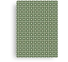 Abstraction #068 Pattern Green and White Blocks Canvas Print