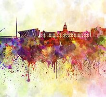 Dublin skyline in watercolor background by paulrommer