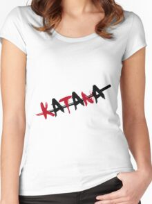 Katana Black and Red Women's Fitted Scoop T-Shirt