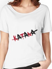 Katana Black and Red Women's Relaxed Fit T-Shirt
