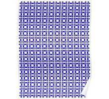 Abstraction #070 Pattern Blue and White Blocks Poster