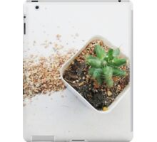 green cactus in white pot and spill soil iPad Case/Skin