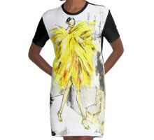 Yellow Pop-Up Graphic T-Shirt Dress