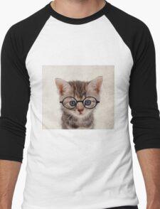 Kitten with Glasses Men's Baseball ¾ T-Shirt
