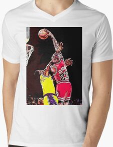Old School NBA - Mike Mens V-Neck T-Shirt