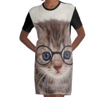 Kitten with Glasses Graphic T-Shirt Dress