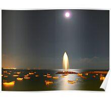 Moonlight Fountain Poster