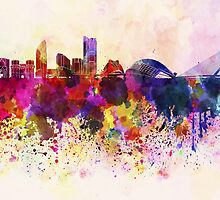 Valencia skyline in watercolor background by paulrommer