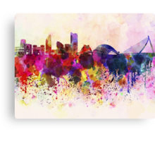Valencia skyline in watercolor background Canvas Print