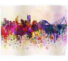 Valencia skyline in watercolor background Poster