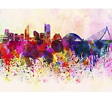 Valencia skyline in watercolor background Photographic Print
