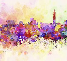 Taipei skyline in watercolor background by paulrommer