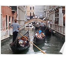 Venice: rush hour in the canal Poster