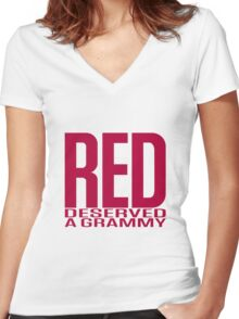 Red Deserved a Grammy Women's Fitted V-Neck T-Shirt