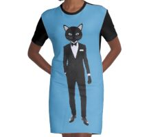 Gentleman Tuxedo suit Cat Graphic T-Shirt Dress