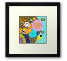 Turquoise Brown and Orange Framed Print