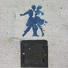 Sidewalk Dancers (stencil graffiti) by Steve Campbell