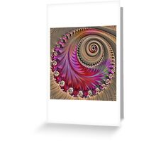Pink Spiral - Fractal Art - Square  Greeting Card