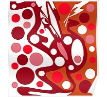 Red and white abstract decor Poster