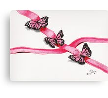 Pink Butterflies on Ribbon Canvas Print