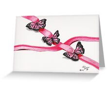 Pink Butterflies on Ribbon Greeting Card