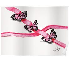 Pink Butterflies on Ribbon Poster