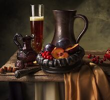 Still Life with Beer, Cranberries, Plums & Pomegranate by Jon Wild