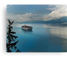 Container Ship Entering Vancouver Harbour Canvas Print