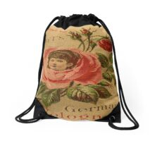 Vintage,rustic,grunge,rose,cute,poster,art nouveau,old commercial for perfume Drawstring Bag