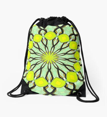 Yellow Kaleidoscope Drawstring Bag