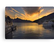 Queenstown Harbour at Sunset Canvas Print