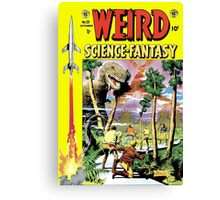 Weird Science Fiction Dinosaur, rockets, pulp fiction Canvas Print
