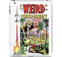 Weird Science Fiction Dinosaur, rockets, pulp fiction iPad Case/Skin