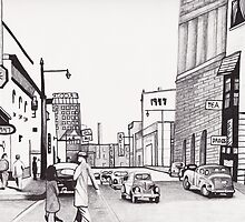 1947 Street Scene by Kevin Dellinger by Kevin Dellinger