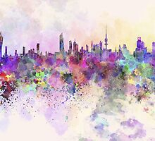 Kuwait City skyline in watercolor background by paulrommer